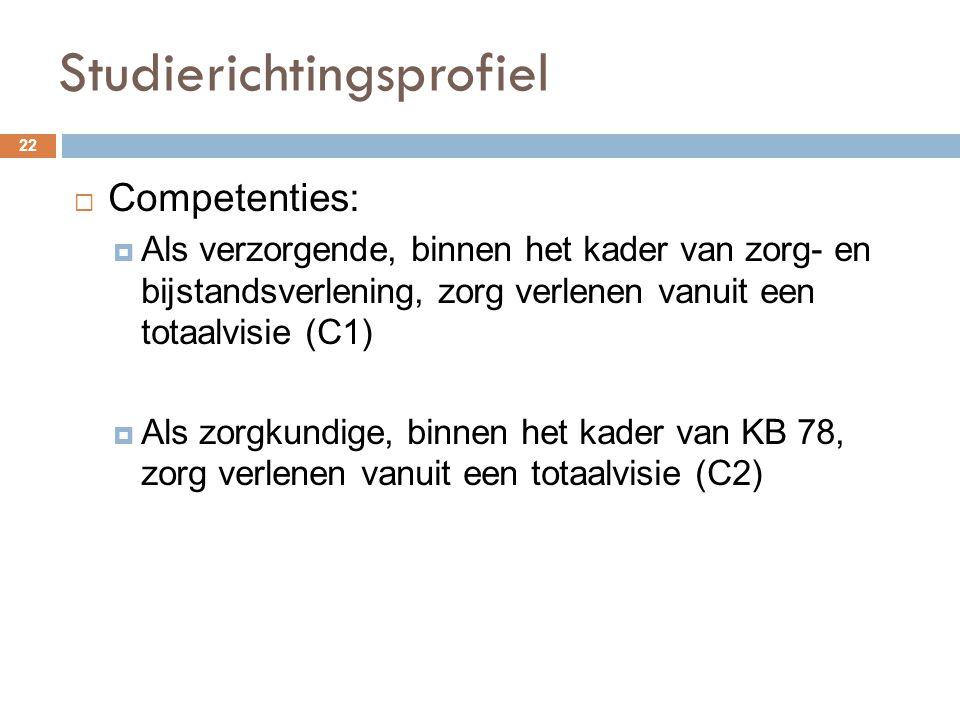 Studierichtingsprofiel 22  Competenties:  Als verzorgende, binnen het kader van zorg- en bijstandsverlening, zorg verlenen vanuit een totaalvisie (C