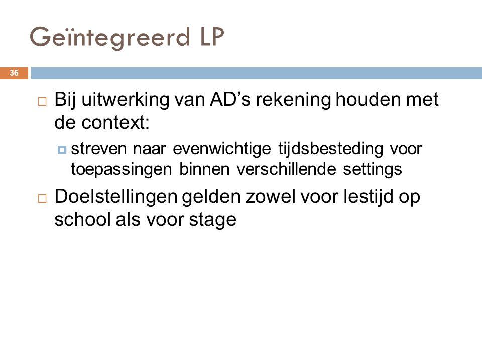 Geïntegreerd LP 36  Bij uitwerking van AD's rekening houden met de context:  streven naar evenwichtige tijdsbesteding voor toepassingen binnen versc