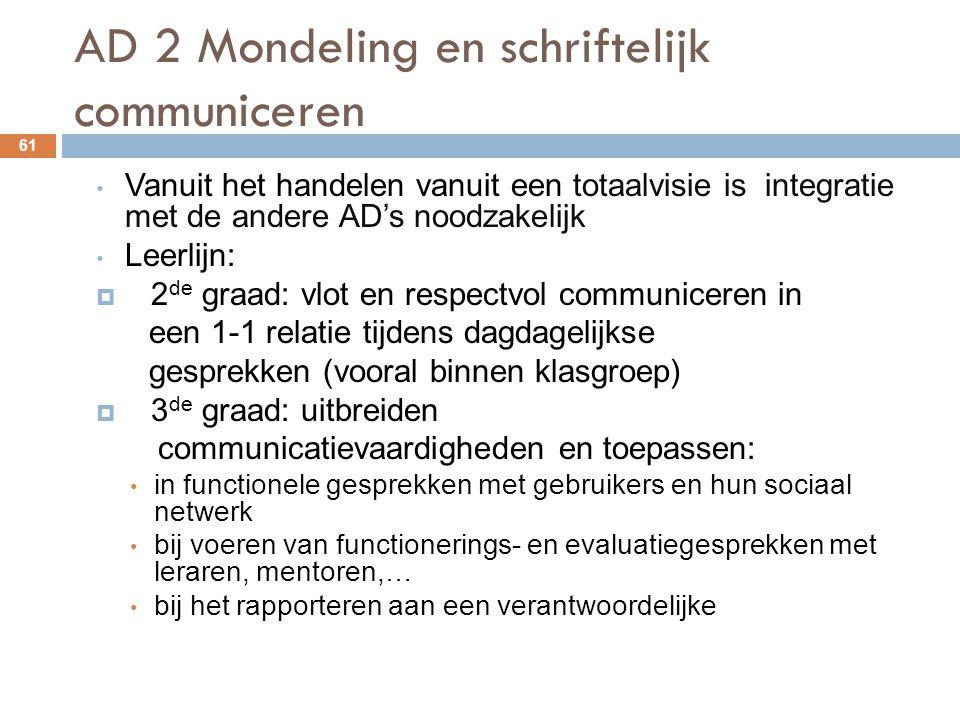 AD 2 Mondeling en schriftelijk communiceren 61 Vanuit het handelen vanuit een totaalvisie is integratie met de andere AD's noodzakelijk Leerlijn:  2