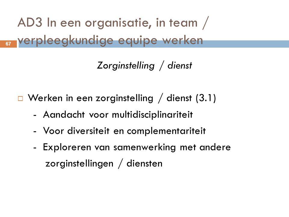 AD3 In een organisatie, in team / verpleegkundige equipe werken 67 Zorginstelling / dienst  Werken in een zorginstelling / dienst (3.1) - Aandacht vo