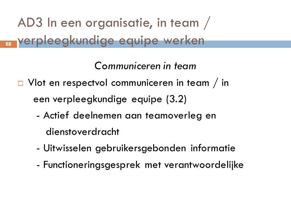 AD3 In een organisatie, in team / verpleegkundige equipe werken 68 Communiceren in team  Vlot en respectvol communiceren in team / in een verpleegkun