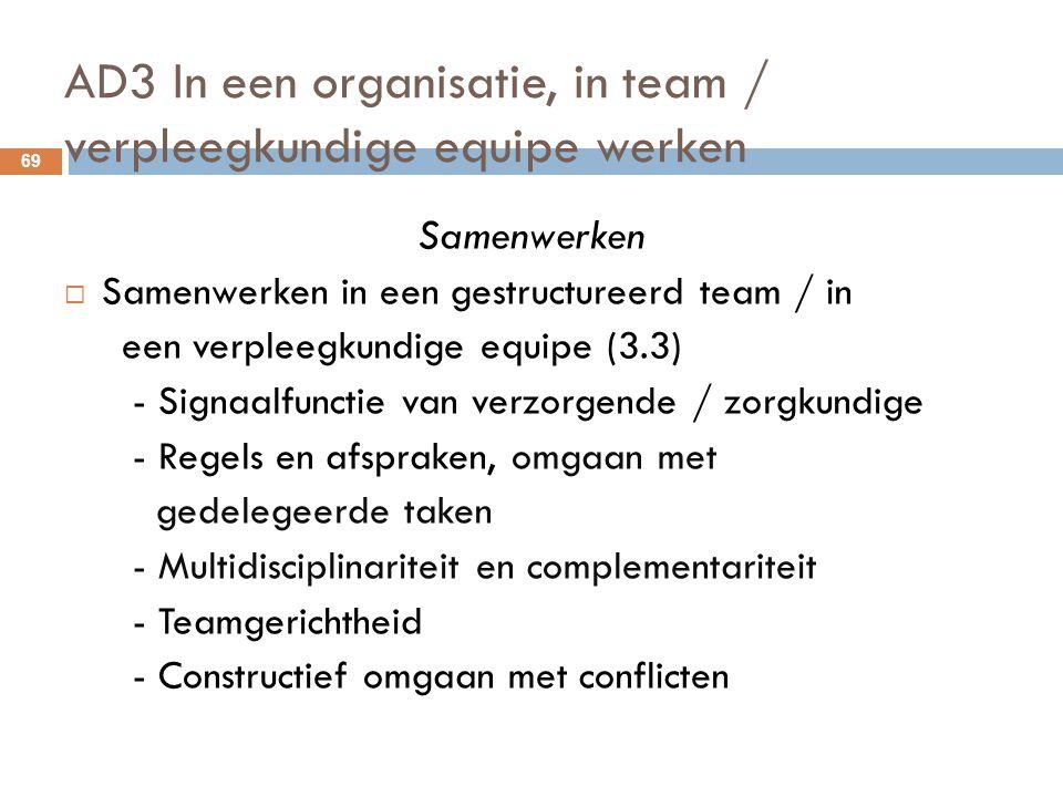 AD3 In een organisatie, in team / verpleegkundige equipe werken 69 Samenwerken  Samenwerken in een gestructureerd team / in een verpleegkundige equip