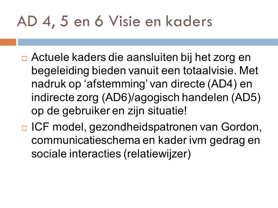 AD 4, 5 en 6 Visie en kaders )71  Actuele kaders die aansluiten bij het zorg en begeleiding bieden vanuit een totaalvisie. Met nadruk op 'afstemming'