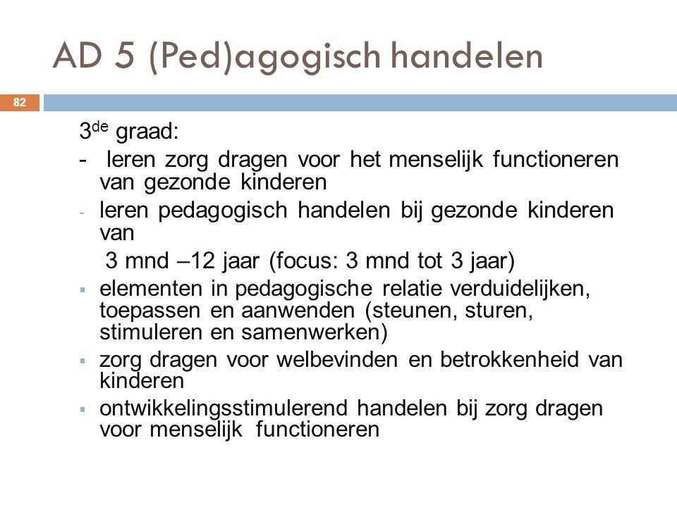 AD 5 (Ped)agogisch handelen 82 3 de graad: - leren zorg dragen voor het menselijk functioneren van gezonde kinderen - leren pedagogisch handelen bij g