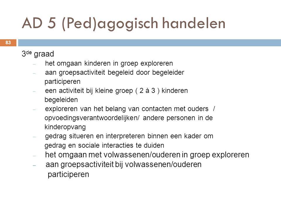 AD 5 (Ped)agogisch handelen 83 3 de graad – het omgaan kinderen in groep exploreren – aan groepsactiviteit begeleid door begeleider participeren – een