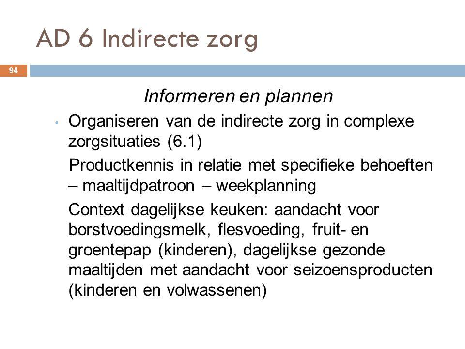 AD 6 Indirecte zorg 94 Informeren en plannen Organiseren van de indirecte zorg in complexe zorgsituaties (6.1) Productkennis in relatie met specifieke