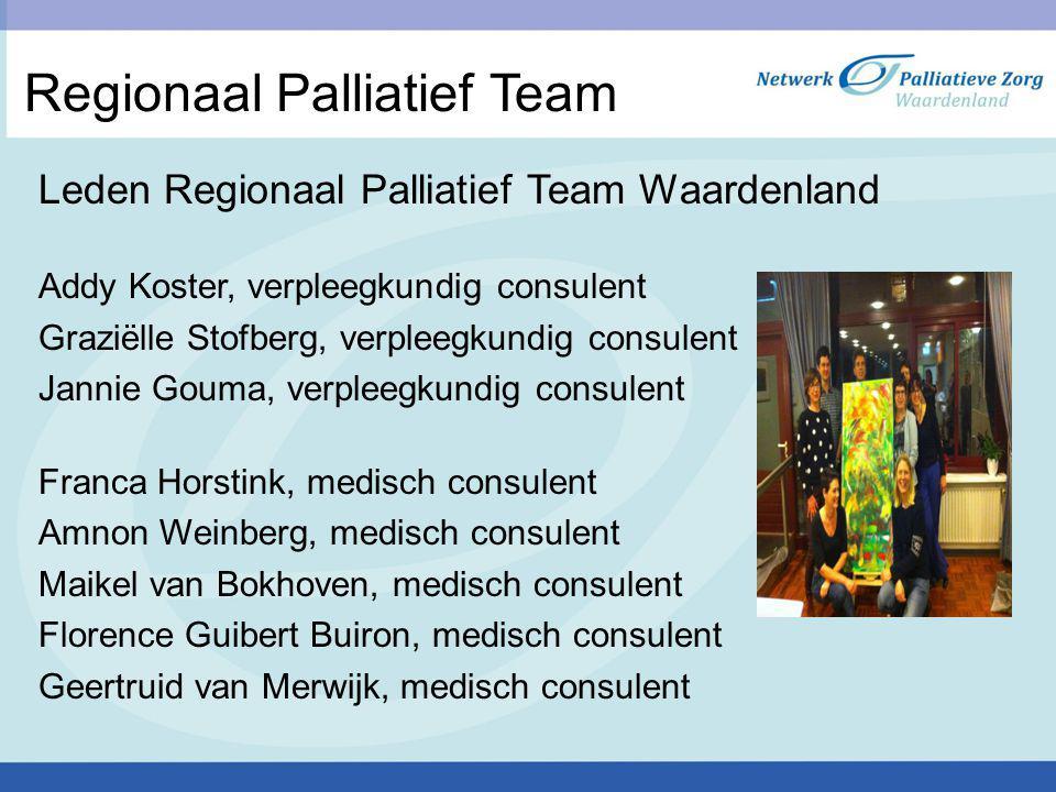 Regionaal Palliatief Team Leden Regionaal Palliatief Team Waardenland Addy Koster, verpleegkundig consulent Graziëlle Stofberg, verpleegkundig consule