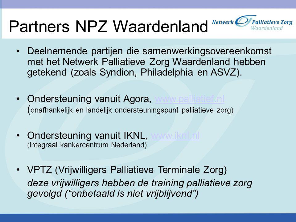 Partners NPZ Waardenland Deelnemende partijen die samenwerkingsovereenkomst met het Netwerk Palliatieve Zorg Waardenland hebben getekend (zoals Syndio