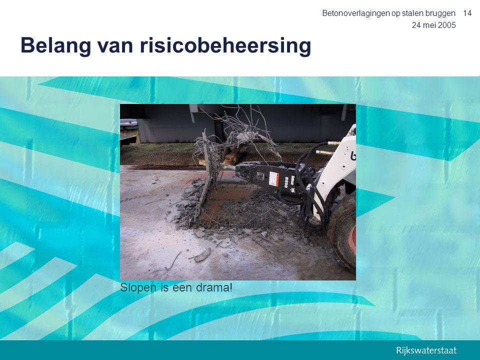 24 mei 2005 Betonoverlagingen op stalen bruggen14 Belang van risicobeheersing Slopen is een drama!