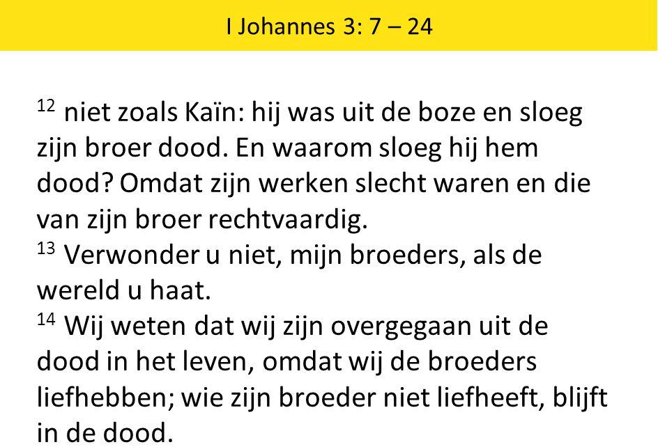 I Johannes 3: 7 – 24 12 niet zoals Kaïn: hij was uit de boze en sloeg zijn broer dood. En waarom sloeg hij hem dood? Omdat zijn werken slecht waren en