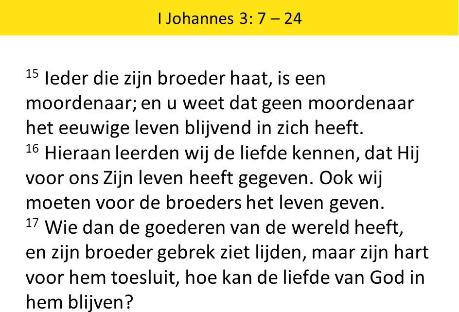 I Johannes 3: 7 – 24 15 Ieder die zijn broeder haat, is een moordenaar; en u weet dat geen moordenaar het eeuwige leven blijvend in zich heeft. 16 Hie
