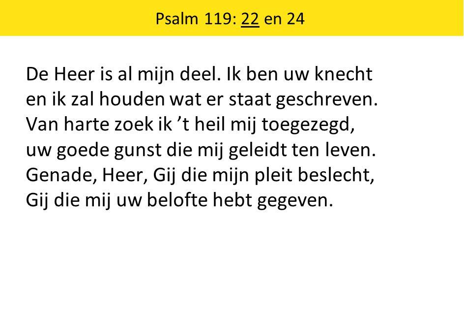 De Heer is al mijn deel. Ik ben uw knecht en ik zal houden wat er staat geschreven. Van harte zoek ik 't heil mij toegezegd, uw goede gunst die mij ge