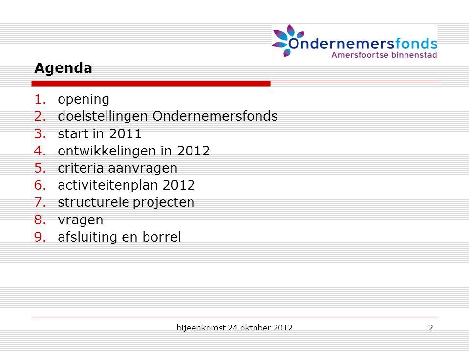 bijeenkomst 24 oktober 20122 Agenda 1.opening 2.doelstellingen Ondernemersfonds 3.start in 2011 4.ontwikkelingen in 2012 5.criteria aanvragen 6.activiteitenplan 2012 7.structurele projecten 8.vragen 9.afsluiting en borrel