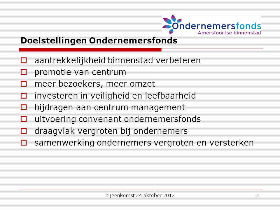 bijeenkomst 24 oktober 20123 Doelstellingen Ondernemersfonds  aantrekkelijkheid binnenstad verbeteren  promotie van centrum  meer bezoekers, meer omzet  investeren in veiligheid en leefbaarheid  bijdragen aan centrum management  uitvoering convenant ondernemersfonds  draagvlak vergroten bij ondernemers  samenwerking ondernemers vergroten en versterken