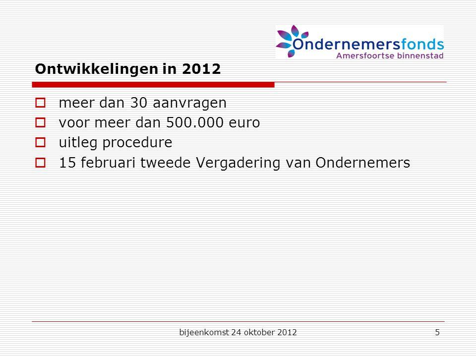 bijeenkomst 24 oktober 20125 Ontwikkelingen in 2012  meer dan 30 aanvragen  voor meer dan 500.000 euro  uitleg procedure  15 februari tweede Vergadering van Ondernemers