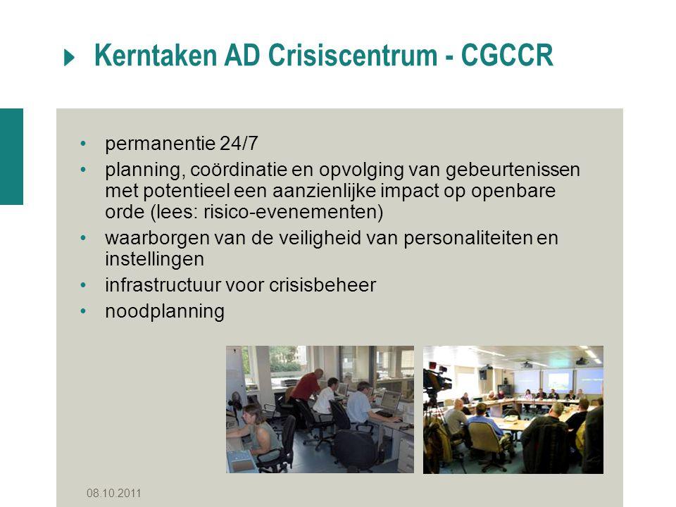 08.10.2011 Kerntaken AD Crisiscentrum - CGCCR permanentie 24/7 planning, coördinatie en opvolging van gebeurtenissen met potentieel een aanzienlijke i