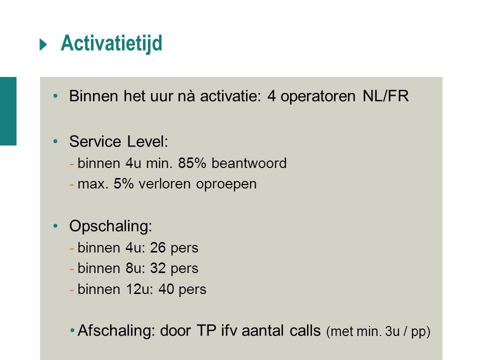 Activatietijd Binnen het uur nà activatie: 4 operatoren NL/FR Service Level: -binnen 4u min. 85% beantwoord -max. 5% verloren oproepen Opschaling: -bi