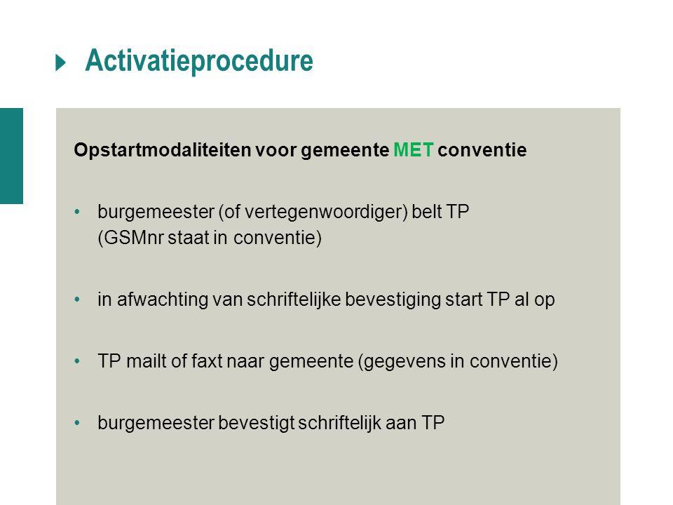 Activatieprocedure Opstartmodaliteiten voor gemeente MET conventie burgemeester (of vertegenwoordiger) belt TP (GSMnr staat in conventie) in afwachtin
