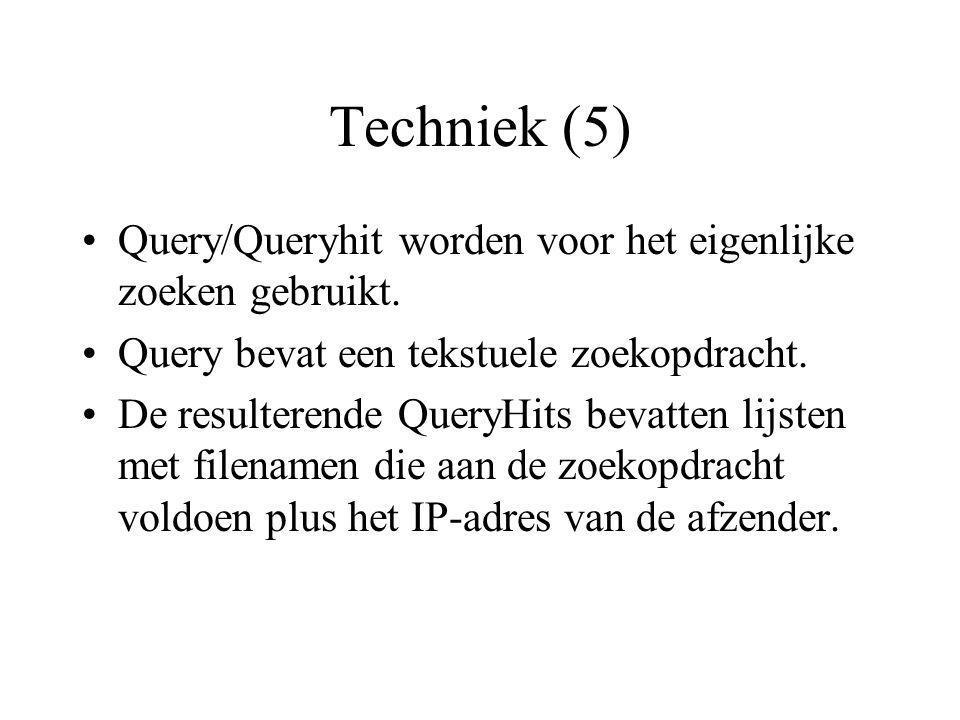 Techniek (5) Query/Queryhit worden voor het eigenlijke zoeken gebruikt.