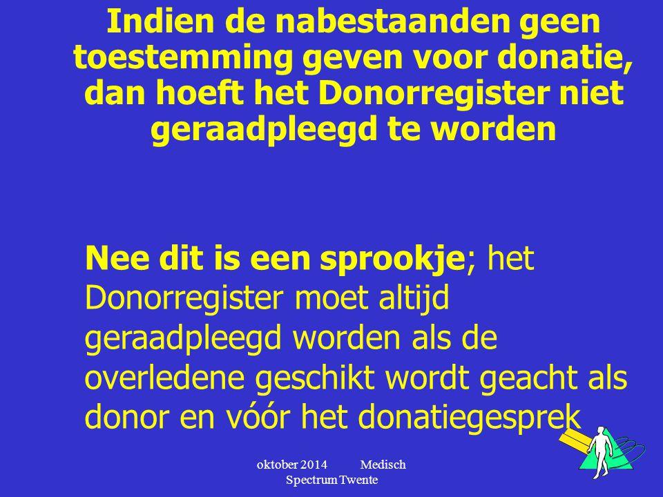 Indien de nabestaanden geen toestemming geven voor donatie, dan hoeft het Donorregister niet geraadpleegd te worden Nee dit is een sprookje; het Donor
