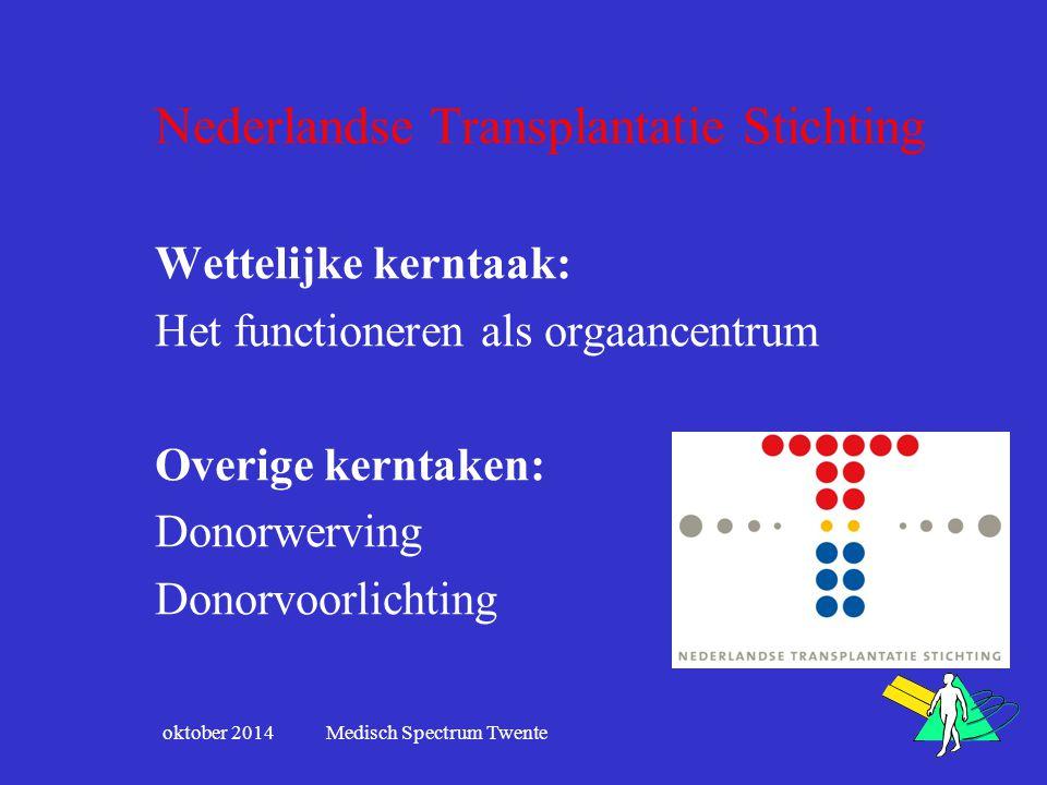 Nederlandse Transplantatie Stichting Wettelijke kerntaak: Het functioneren als orgaancentrum Overige kerntaken: Donorwerving Donorvoorlichting oktober