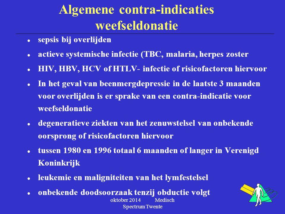 oktober 2014 Medisch Spectrum Twente Algemene contra-indicaties weefseldonatie l sepsis bij overlijden l actieve systemische infectie (TBC, malaria, h