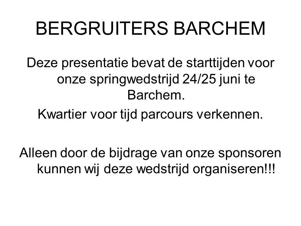 BERGRUITERS BARCHEM Deze presentatie bevat de starttijden voor onze springwedstrijd 24/25 juni te Barchem.