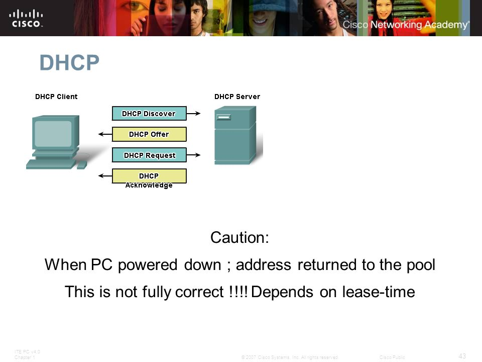 ITE PC v4.0 Chapter 1 43 © 2007 Cisco Systems, Inc. All rights reserved.Cisco Public DHCP Caution: When PC powered down ; address returned to the pool