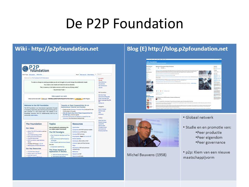De P2P Foundation Wiki - http://p2pfoundation.netBlog (E) http://blog.p2pfoundation.net Michel Bauwens (1958) Globaal netwerk Studie en en promotie va