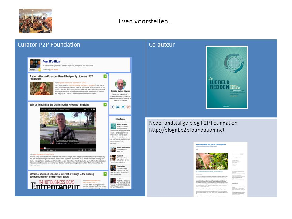 Even voorstellen… Curator P2P FoundationCo-auteur Nederlandstalige blog P2P Foundation http://blognl.p2pfoundation.net
