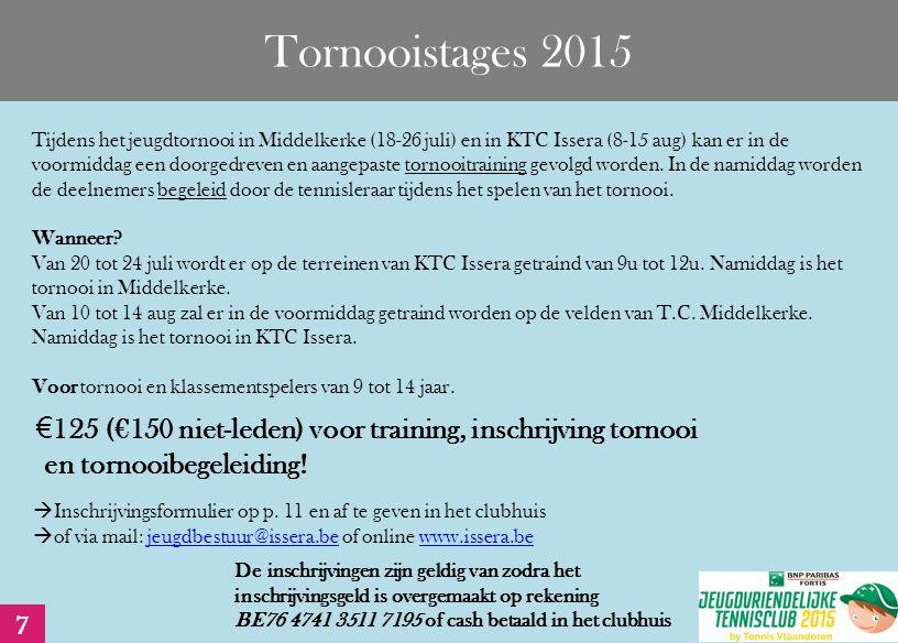 Tornooistages 2015 Tijdens het jeugdtornooi in Middelkerke (18-26 juli) en in KTC Issera (8-15 aug) kan er in de voormiddag een doorgedreven en aangepaste tornooitraining gevolgd worden.
