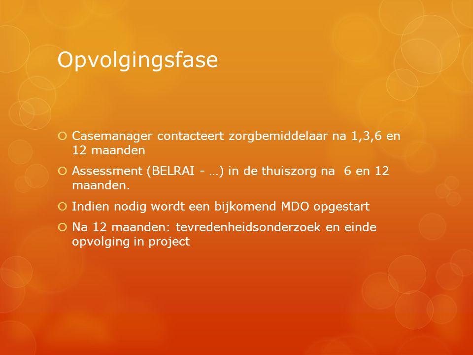Opvolgingsfase  Casemanager contacteert zorgbemiddelaar na 1,3,6 en 12 maanden  Assessment (BELRAI - …) in de thuiszorg na 6 en 12 maanden.