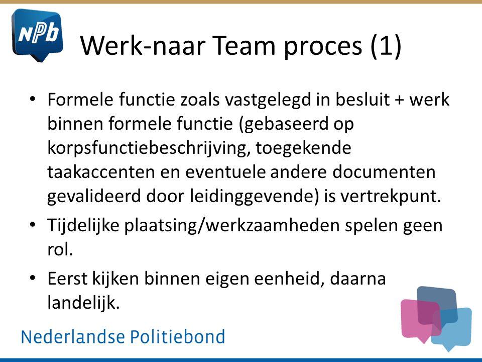 Werk-naar Team proces (1) Formele functie zoals vastgelegd in besluit + werk binnen formele functie (gebaseerd op korpsfunctiebeschrijving, toegekende