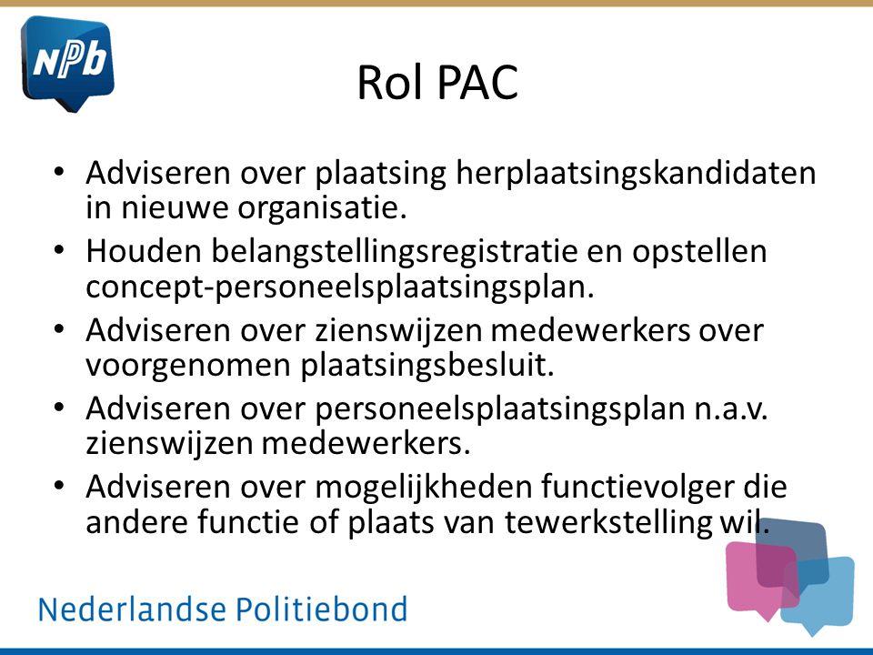 Rol PAC Adviseren over plaatsing herplaatsingskandidaten in nieuwe organisatie. Houden belangstellingsregistratie en opstellen concept-personeelsplaat