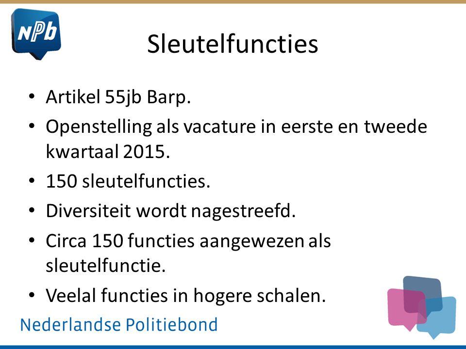 Sleutelfuncties Artikel 55jb Barp. Openstelling als vacature in eerste en tweede kwartaal 2015. 150 sleutelfuncties. Diversiteit wordt nagestreefd. Ci