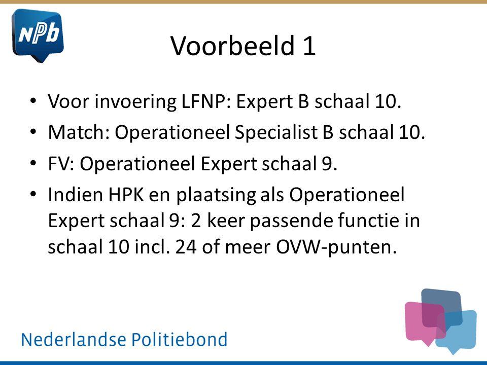 Voorbeeld 1 Voor invoering LFNP: Expert B schaal 10. Match: Operationeel Specialist B schaal 10. FV: Operationeel Expert schaal 9. Indien HPK en plaat