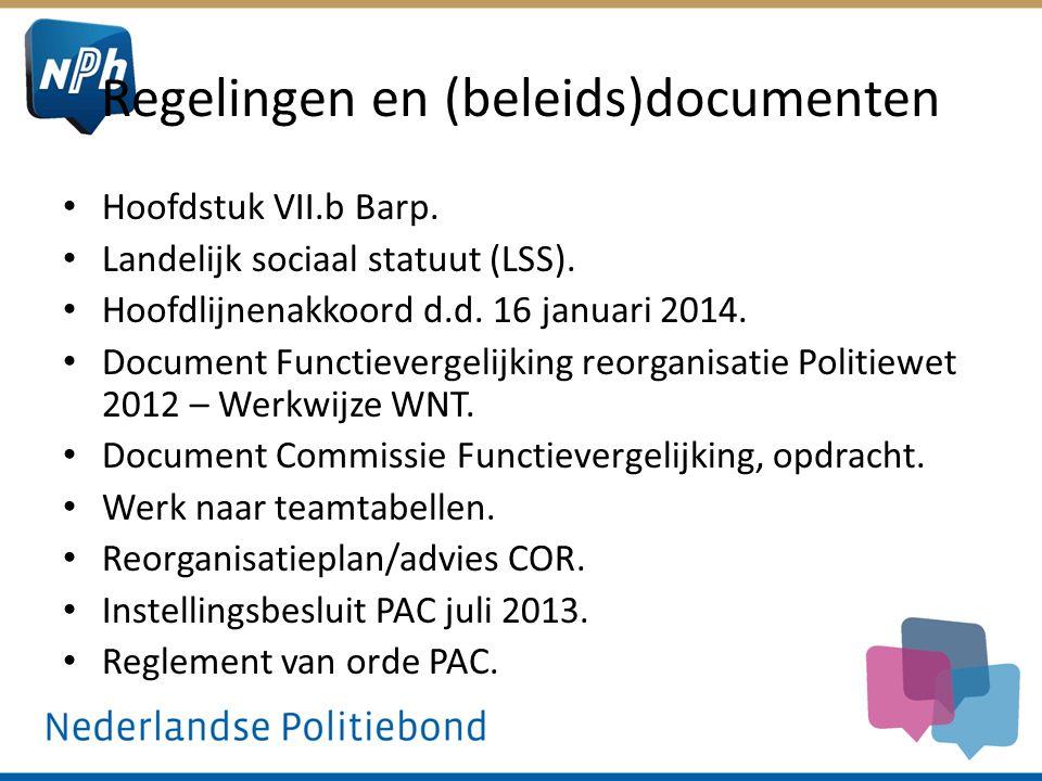 Regelingen en (beleids)documenten Hoofdstuk VII.b Barp. Landelijk sociaal statuut (LSS). Hoofdlijnenakkoord d.d. 16 januari 2014. Document Functieverg