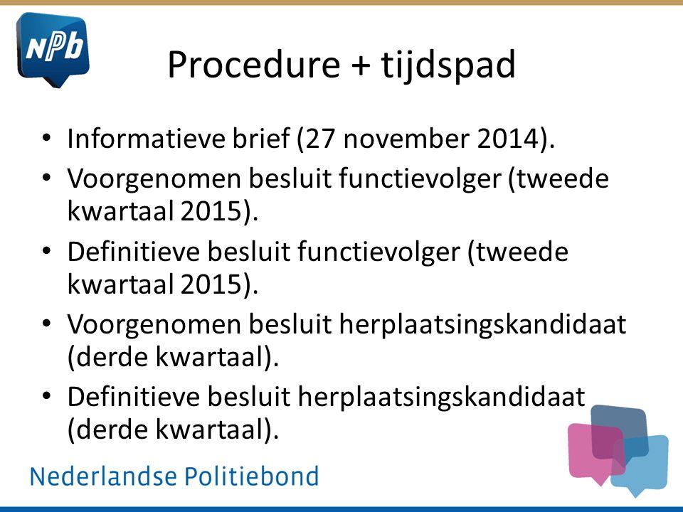 Procedure + tijdspad Informatieve brief (27 november 2014). Voorgenomen besluit functievolger (tweede kwartaal 2015). Definitieve besluit functievolge