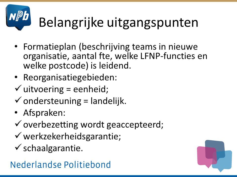 Belangrijke uitgangspunten Formatieplan (beschrijving teams in nieuwe organisatie, aantal fte, welke LFNP-functies en welke postcode) is leidend. Reor