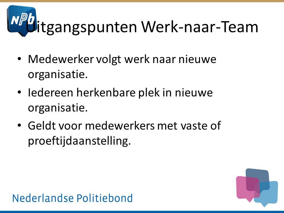 Uitgangspunten Werk-naar-Team Medewerker volgt werk naar nieuwe organisatie. Iedereen herkenbare plek in nieuwe organisatie. Geldt voor medewerkers me