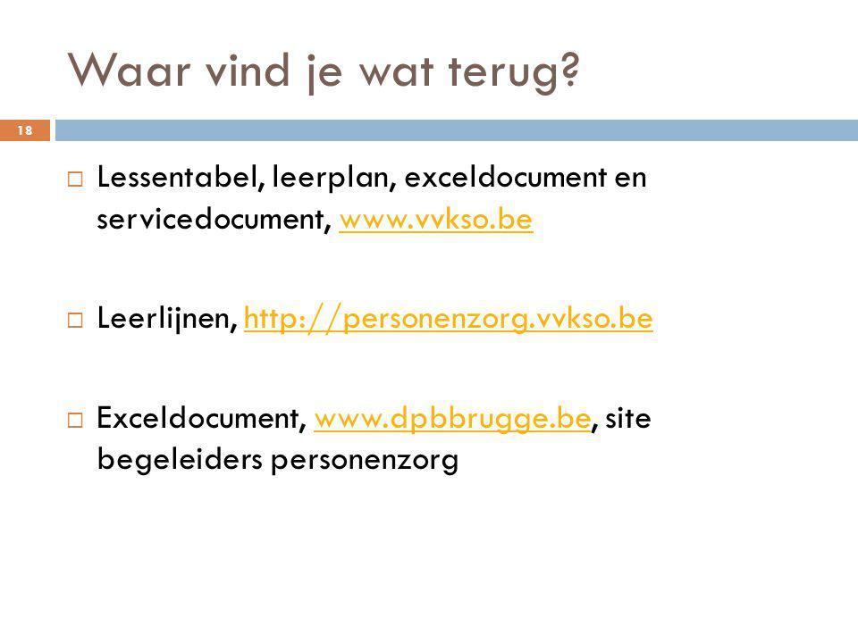 Waar vind je wat terug? 18  Lessentabel, leerplan, exceldocument en servicedocument, www.vvkso.bewww.vvkso.be  Leerlijnen, http://personenzorg.vvkso