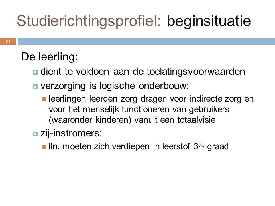 Studierichtingsprofiel: beginsituatie 22 De leerling:  dient te voldoen aan de toelatingsvoorwaarden  verzorging is logische onderbouw: leerlingen l