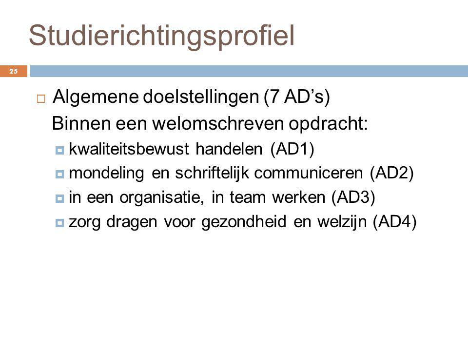 Studierichtingsprofiel 25  Algemene doelstellingen (7 AD's) Binnen een welomschreven opdracht:  kwaliteitsbewust handelen (AD1)  mondeling en schri