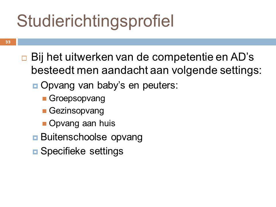 Studierichtingsprofiel 33  Bij het uitwerken van de competentie en AD's besteedt men aandacht aan volgende settings:  Opvang van baby's en peuters: