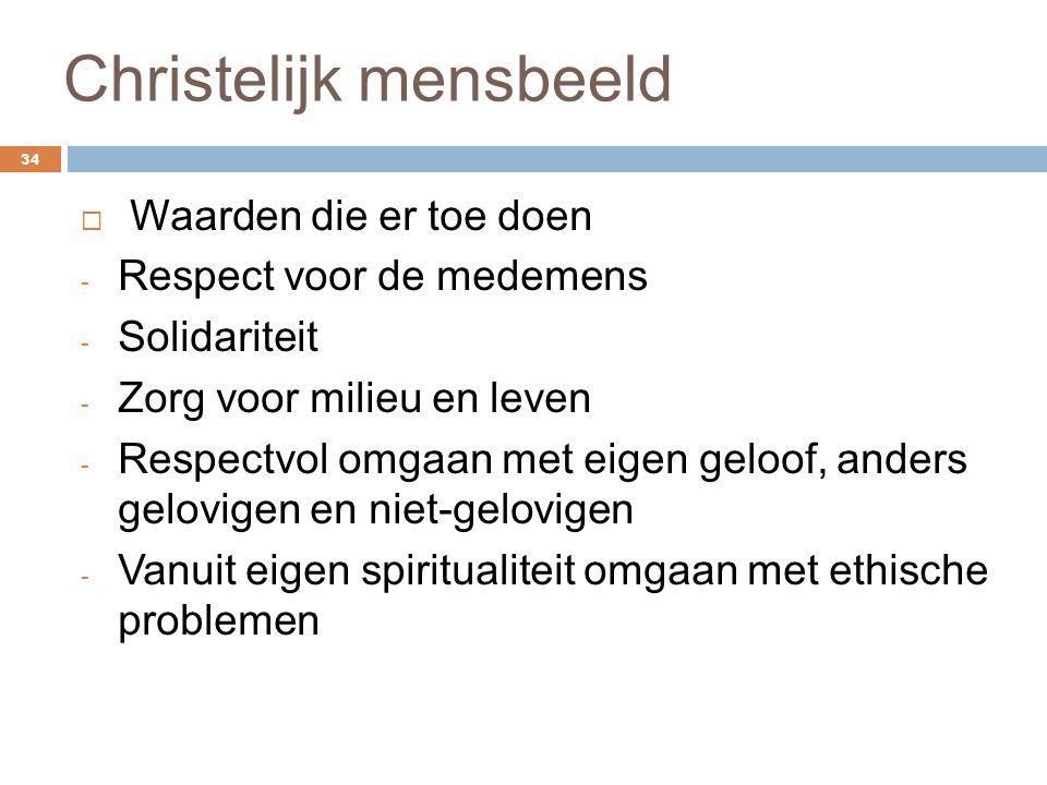 Christelijk mensbeeld 34  Waarden die er toe doen - Respect voor de medemens - Solidariteit - Zorg voor milieu en leven - Respectvol omgaan met eigen