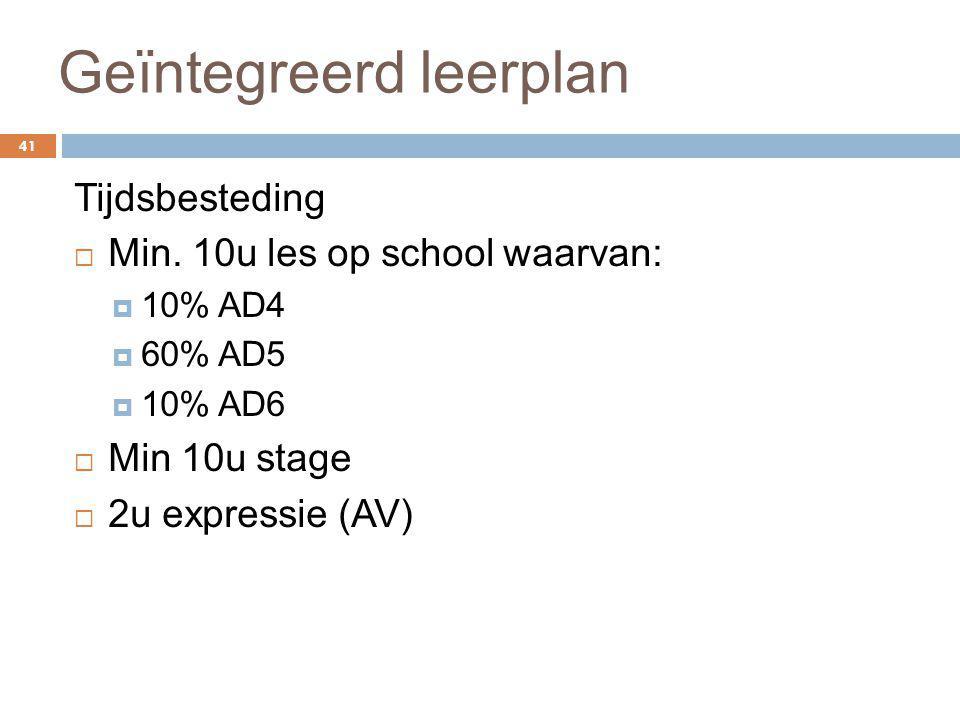Geïntegreerd leerplan 41 Tijdsbesteding  Min. 10u les op school waarvan:  10% AD4  60% AD5  10% AD6  Min 10u stage  2u expressie (AV)