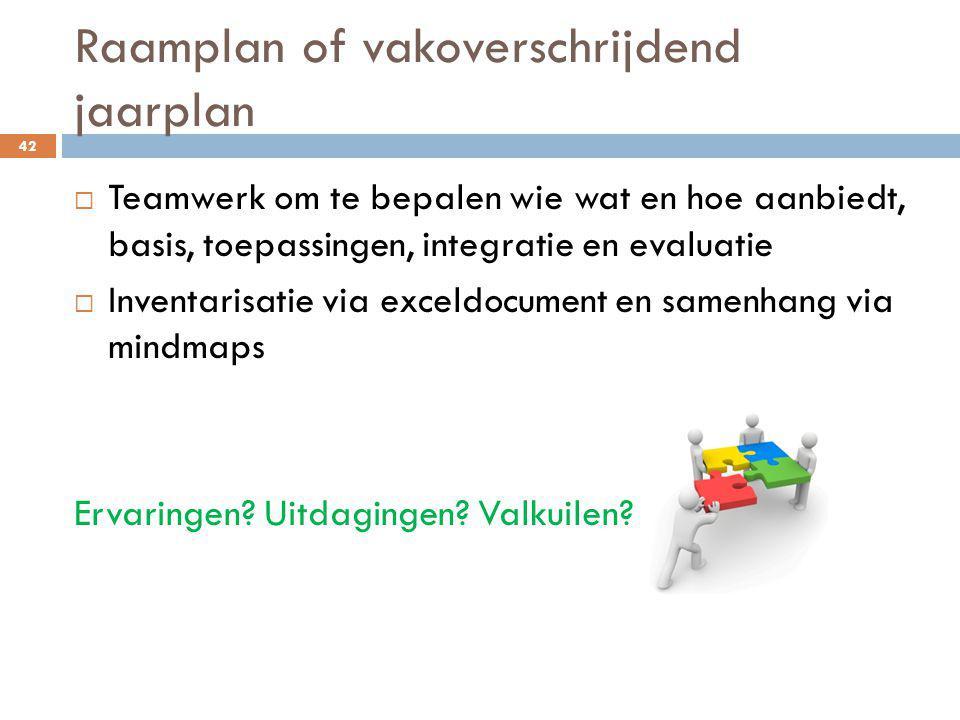 Raamplan of vakoverschrijdend jaarplan 42  Teamwerk om te bepalen wie wat en hoe aanbiedt, basis, toepassingen, integratie en evaluatie  Inventarisa