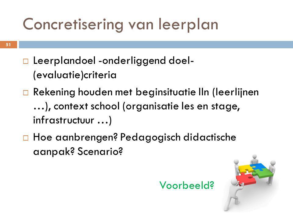 Concretisering van leerplan 51  Leerplandoel -onderliggend doel- (evaluatie)criteria  Rekening houden met beginsituatie lln (leerlijnen …), context