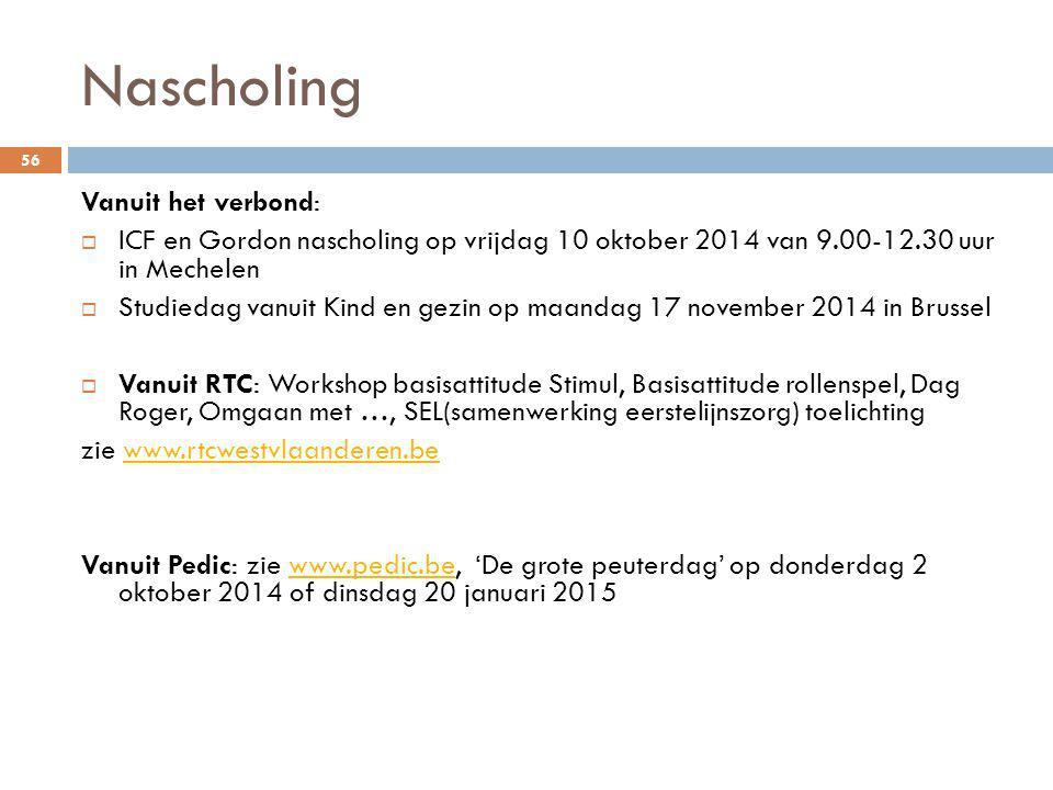 Nascholing 56 Vanuit het verbond:  ICF en Gordon nascholing op vrijdag 10 oktober 2014 van 9.00-12.30 uur in Mechelen  Studiedag vanuit Kind en gezi
