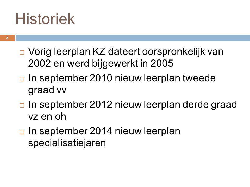 Historiek 6  Vorig leerplan KZ dateert oorspronkelijk van 2002 en werd bijgewerkt in 2005  In september 2010 nieuw leerplan tweede graad vv  In sep